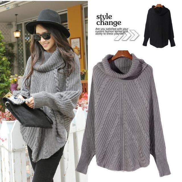 89533cc3ea196 Free Shipping 2014 New Female Bat Type Loose Turtleneck Sweater Knit Solid  Color Long Sleeve Warm Bat Sweater