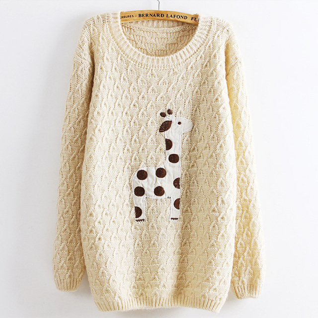 2013 Applique Deer Pattern Knitted Pullover Sweaters Loose Long
