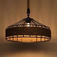 Подвесной светильник в стиле ретро с подвеской из веревки в стиле ретро для столовой  кафе  магазина  световая балка E27  лампочки Эдисона  бес...