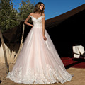 Elegant Light Pink Wedding Dress Tulle Ball Gown 2017 Trouwjurk Bridal Dress Appliqued Lace Up Cap Sleeve Robe De Mariage