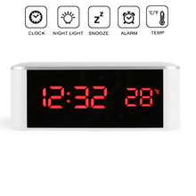 EAAGD Digital Alarm Clock LED Display with Dimmer USB Charging Power, 12/24 Hours,Temperature,Snooze Function for Bedroom Office