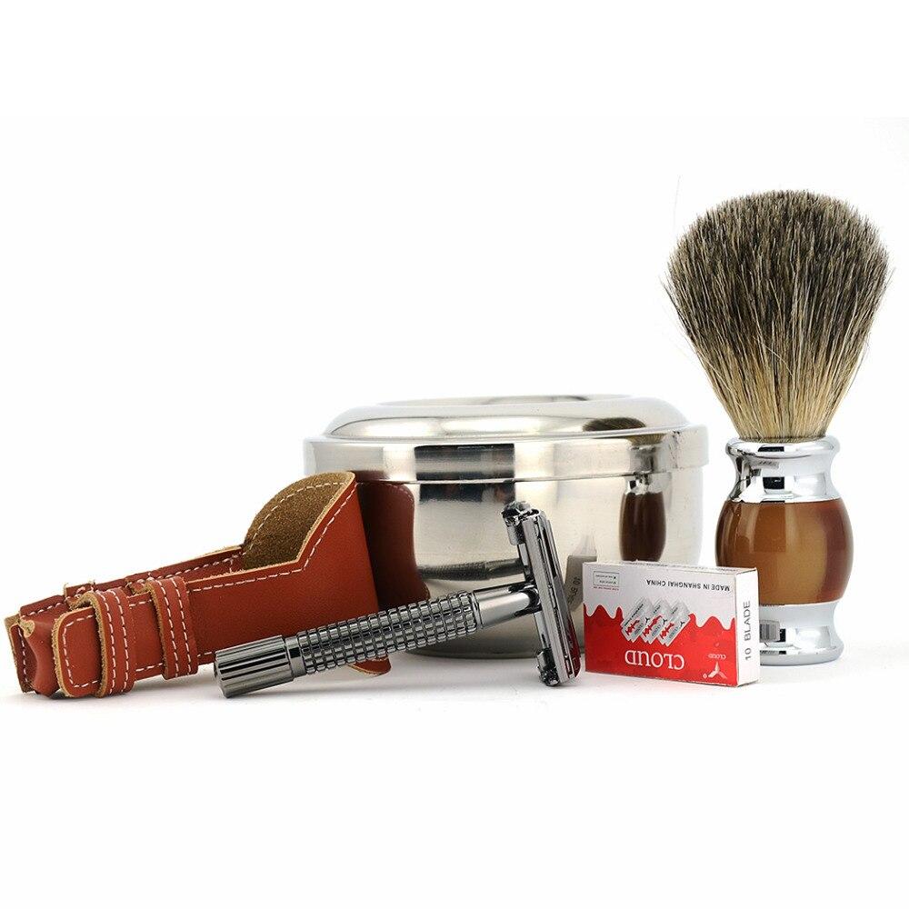 Classic Butterfly Safety Blade Razor + Pure Badger Beard Brush + Shaving Bowl Mug + Razor Case Pouch Blades Men Shaving Set Kits verawood wood pure badger shaving brush and de safety razor set