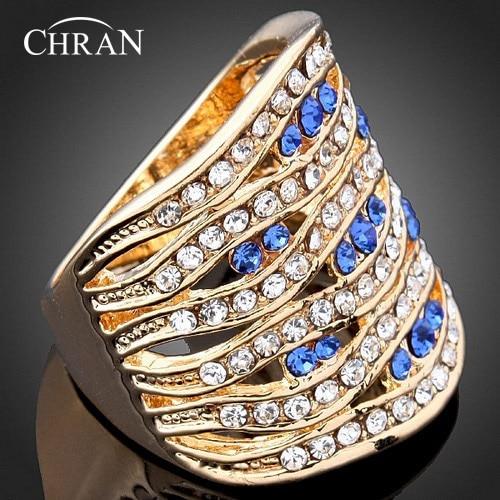 Chran простой синий кристалл Eternity кольцо роскошные золотые Цвет Для женщин обещал Кольца