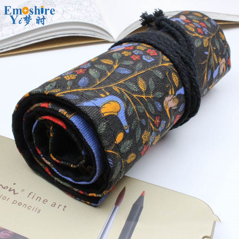 Rolling Up Pencil Bags Canvas Painting Stationery Roll Pencil Case Sketch Pencil Brush Bag Kits Holders Pouch Pencil Bag B053 home durable 25 pocket grids canvas spanner plier wrench tools bag case fold up holder rolling hanging
