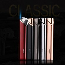 Mini Portable Metal Long Strip Inflatable Windproof Lighter Refillable Gas Lighters Ultra-thin Cigarette