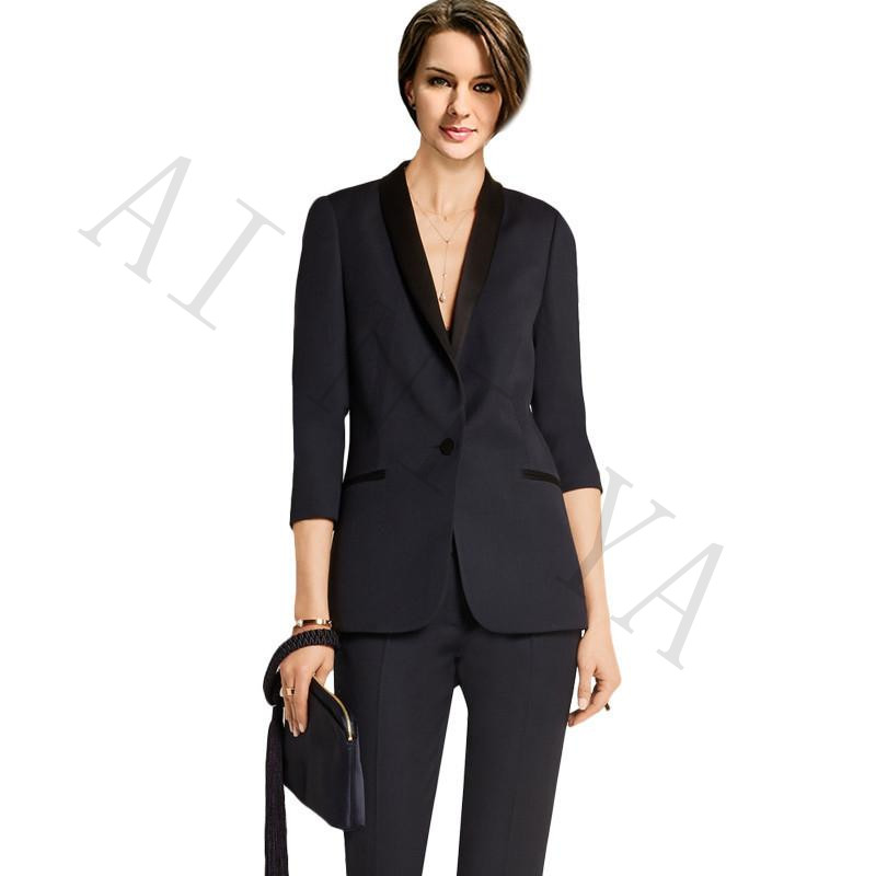 New Pants Suit Women Business Suits Blazer Black One Button Female Office Uniform Formal Evening Prom Slim Ladies Trouser Suit