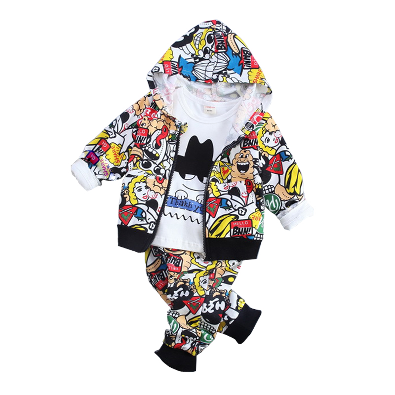 baby boys clothing sets Autumn cotton hoodies Suit 3pcs/set tracksuit 2018 new casual outfits for Kids Children boy clothes 3yrs 2018 spring autumn baby boy tracksuit clothing 2pcs set cotton boys sports suit children outfits 2 3 4 5 6 7 years kids clothes