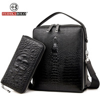 Famous Brand Bag Men Messenger Bags Double Zipper Trunk Leather Handbags Designer Handbags High Quality Men