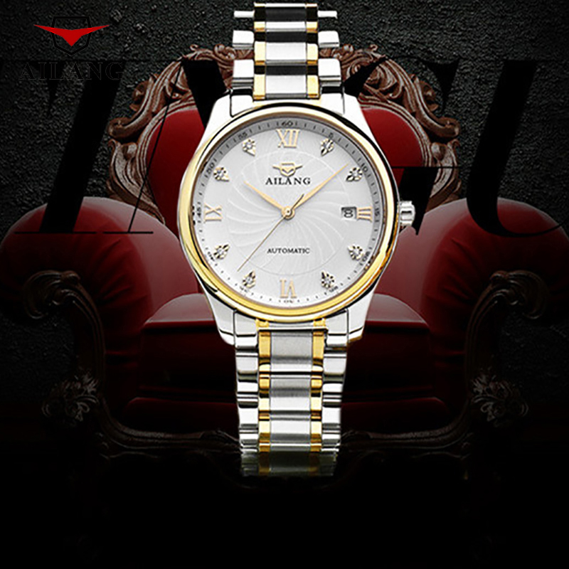 AILANG Brand Mechanical Wristwatches Rhinestone Vintage Waterproof Watches Business Stainless Steel And Real Leather Watch A009 guess m72i48 i3z00 a009