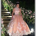 Sweet 16 ano lace champagne vestidos quinceanera 2017 vestido debutante 15 anos vestido de Baile Alta Neck Sheer Vestido de Baile Para partido