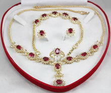 New Design Charming Red Zircon Necklace Earing Bracelet Set +box