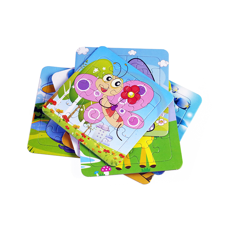 UainCube 9/16/20 PCS/Set Jigsaw Puzzles Cartoon Animal Educational Toys For Children Digital Paper Puzzle Game For Kids Learning