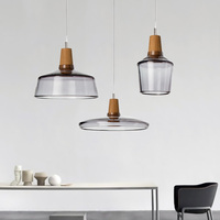 After The Modern Dining Room Chandelier Led Simple Creative Art Glass Lamp Bar Wood Study Dining