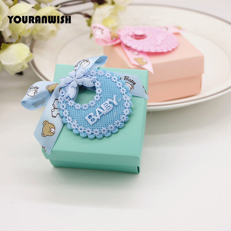 24pcs/lot Tiffany Blue and Pink Bibs decoration Baby Shower Favors Gifts Candy Boxes Party Sweets Chocolates Turquoise Gift Box