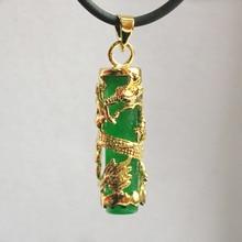 /розничная красивый китайский ветер цилиндр зеленый натуральный нефрит+ Женские Подвески в виде дракона ожерелье