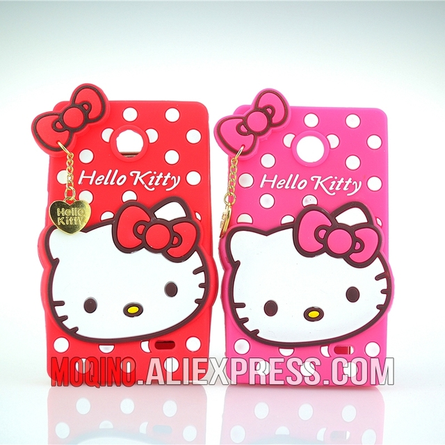 For Microsoft Nokia X Case 3D Lovely Cute Hello Kitty Kt Cat Silicon Back Case Soft Cover Phone Case