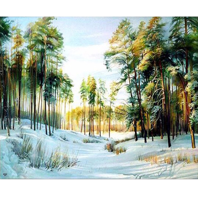 FULL 5D DIY diamond painting cross stitch embroidery mosaic pattern snow scene picture printed on canvas decor image