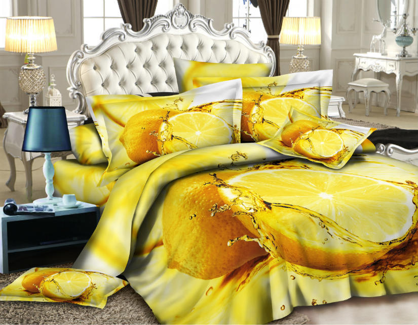 lemon 3d bed linen set 4pc bedding set fruit 3d duvet cover bed sheet set bed cover blanket. Black Bedroom Furniture Sets. Home Design Ideas