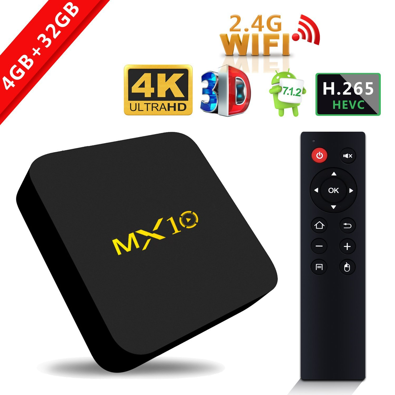 RK3328 MX10 android tv box 4GB DDR4 32GB eMMC Android 7.1 uad Core 2.4Ghz WIFI BT4.0 Set-Top BOX kodi 17.4 Smart 4K Media Player
