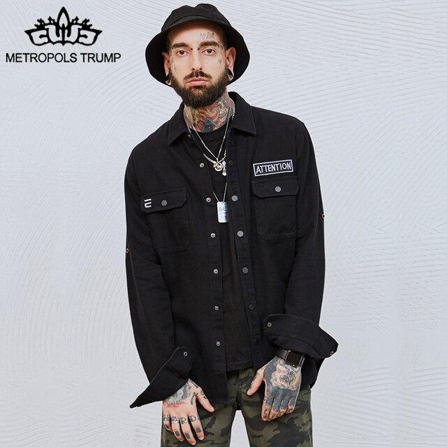 Metropolis Trump Denim Jacket Men Embroidery Denim Jackets 2018