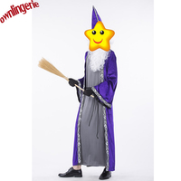 Adult Witch Sexy Costumes For Men Halloween Long Purple robe style with hat