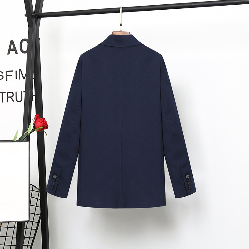 high quality Navy Blue suit female Korean fashion ladies Slim Blazer Suit Two Piece Trousers + Blazers 2PC Female Sets Pants 5XL-in Pant Suits from Women's Clothing    3