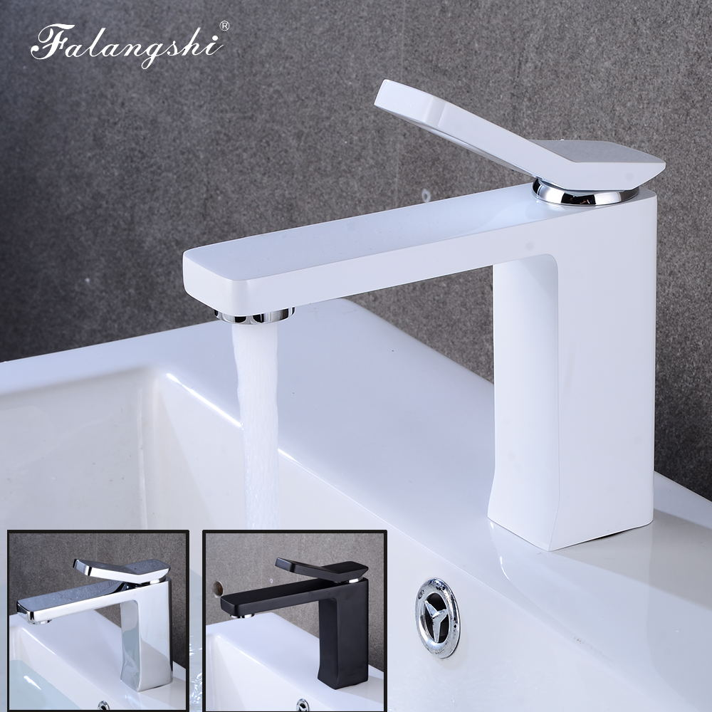Mitigeur de lavabo robinet en laiton massif blanc robinet chaud et froid salle de bain lavabo robinets navire évier mélangeur grifo lavabo musluk WB1009