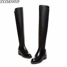 ZYZMNSYP Sexy Stretch weiche echtes Reiten knie oberschenkel hohe stiefel herbst winter frau ketten schwarz schuhe damen stiefel