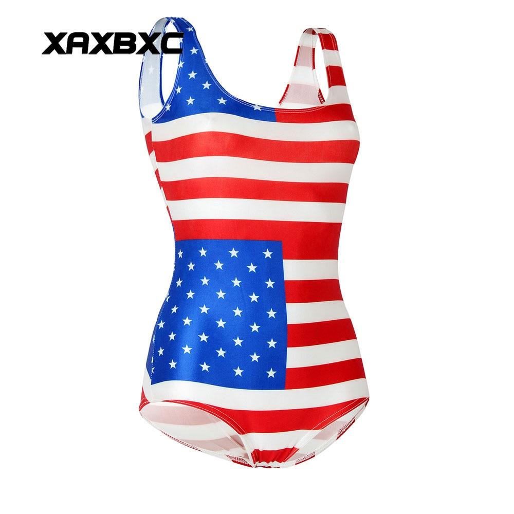XAXBXC 1194 Summer Sexy Girl Swimwear Bodysuit Stars and Stripes USA Flag 3D Prints One Piece Women Swimsuit Sport Bathing Suit stars and stripes flag jeans quartz watch