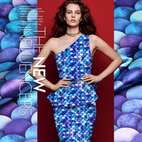 118cm Wide 19mm 93 Silk 7 Spandex Blue Mermaid Silk Satin Fabric For Dress Shirt Clothes