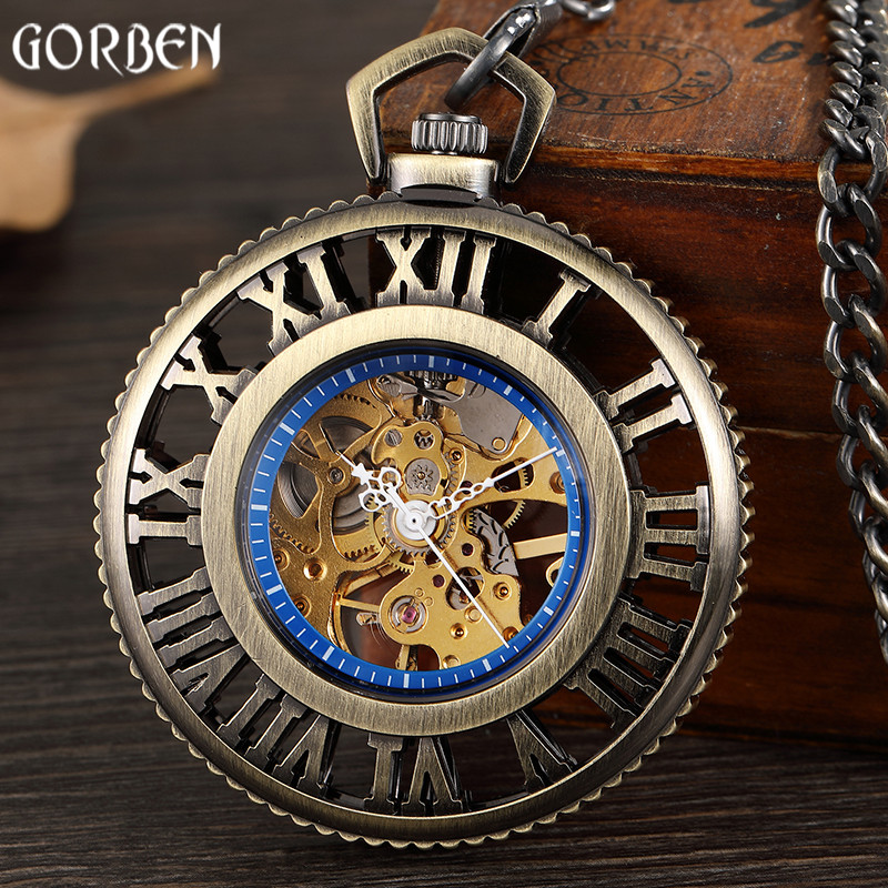 Retro Bronze Roman Number Hollow Dial Mechanical Watches Steampunk Skeleton Vintage Hand Wind Mechanical Watches FOB Chain Clock men mechanical pocket watch train man fob watches steampunk bronze roman antique vintage retro stylish hand wind good quality