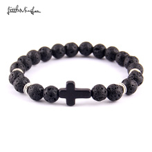 Little MingLou New fashion Trendy Jesus cross Charm men bracelet Lava Stone 8mm Beads Bracelets & Bangles for women Jewelry