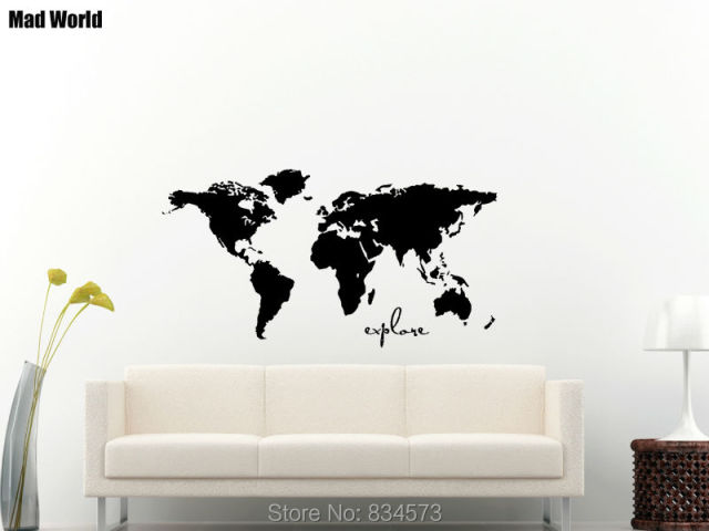 mad world world map silhouette explore wall art stickers wall decal home diy decoration removable