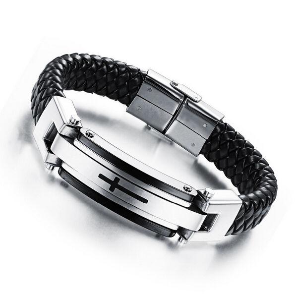 Vintage Leather Wrap Bracelet For Man Fashion Handmade Knitted Bangle - Fashion Jewelry - Photo 2
