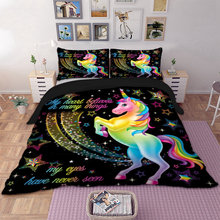 Dropshipping Duvet Cover Rainbow Unicorn Fairytale with Sparkling Stars 3D Digital Printing Bedding Sets Black Background(China)