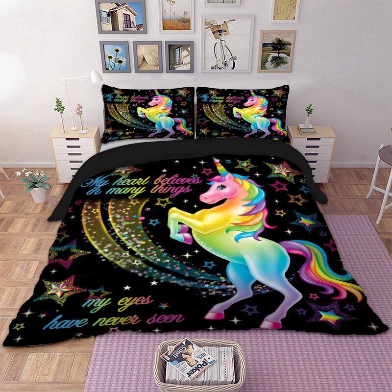 Dropshipping funda nórdica Arco Iris unicornio cuento de hadas con estrellas brillantes 3D Impresión Digital cama fondo negro