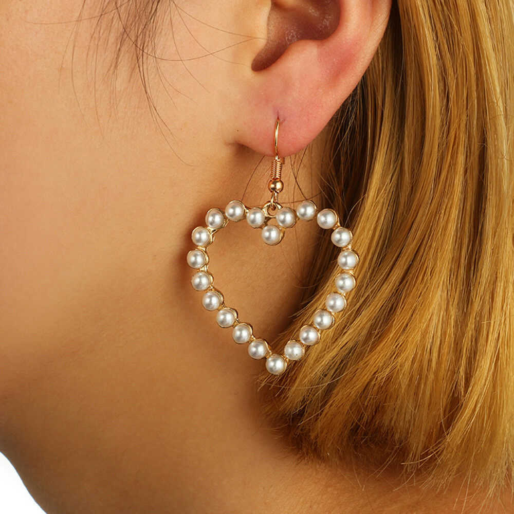 1 Pair Simple Fashion Jewelry Peach Heart Pearl Dangle Drop Earrings Female Love Earrings Gold Silver Color New Arrivals