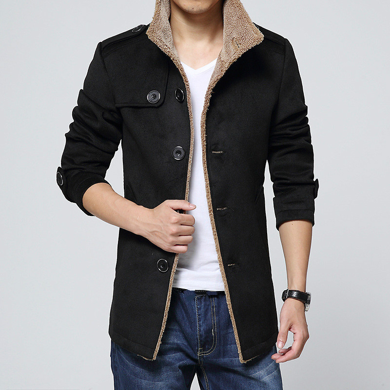 Winter Coat Long-Sleeve Woolen Black Plus-Size Mens Outerwear Windbreaker Male Thick