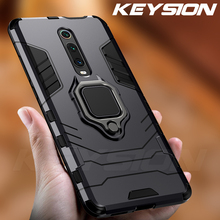 KEYSION Shockproof Armor Case For Redmi K20 Pro Note 7 Stand Holder Car Ring Phone Cover for Xiaomi Mi 9T 9 se
