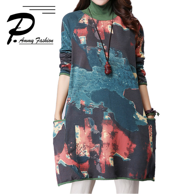 Women s Turtle Neck Print Long sleeves Jumper Dress Sweatshirts Pullover  lagenlook voguees Trend long shirts 1af768f230a2