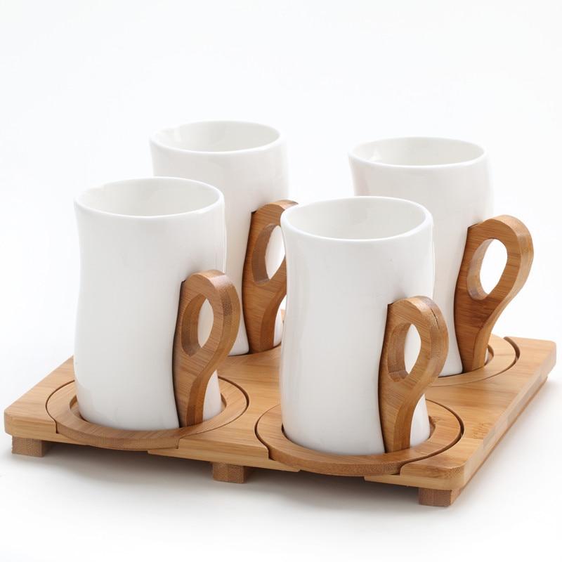 espresso cups new arrival fashion wooden handle ceramic coffee cup piece set modern fashion coffee