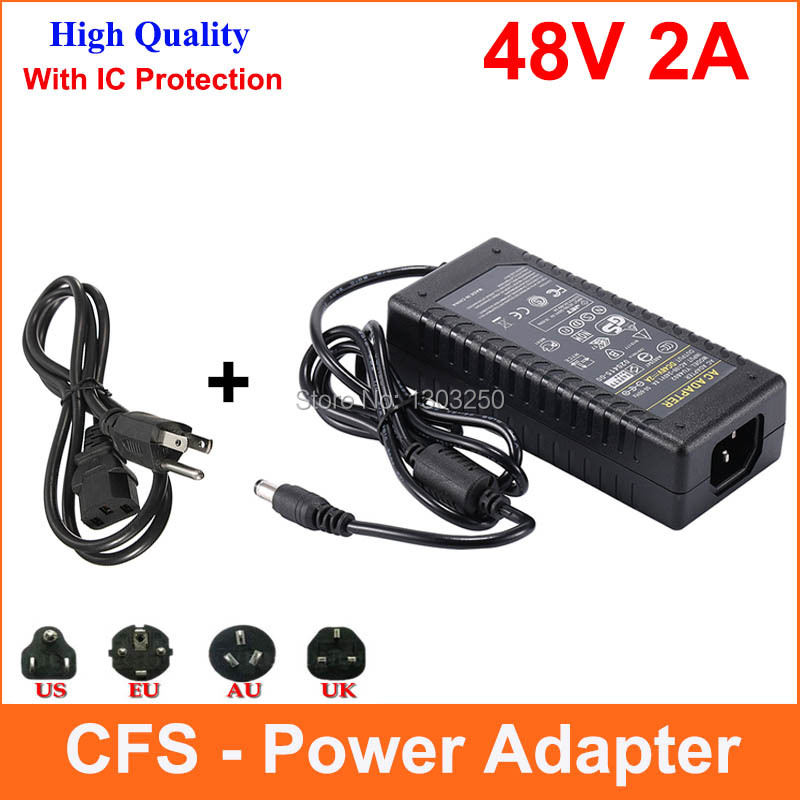 New AC 100V-240V Converter Adapter DC 48V 2A 96W Power Supply Charger DC 5.5mm