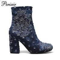 Andralyn Autumu Winter Women Ankle Boots Print Broken Denim Round Toe High Heels Fashion Ladies Martin