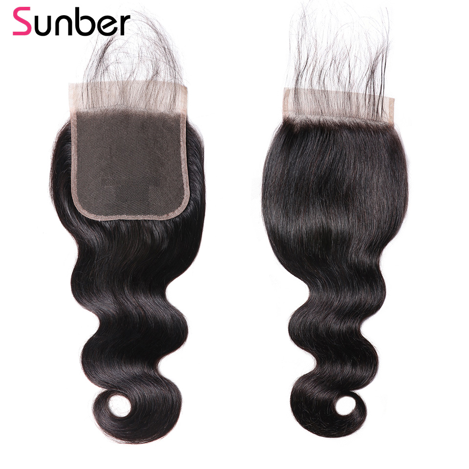 Sunber Body Wave 5 5 Closure Pre Plucked With Baby Hair Natural Hairline Brazilian Remy Human