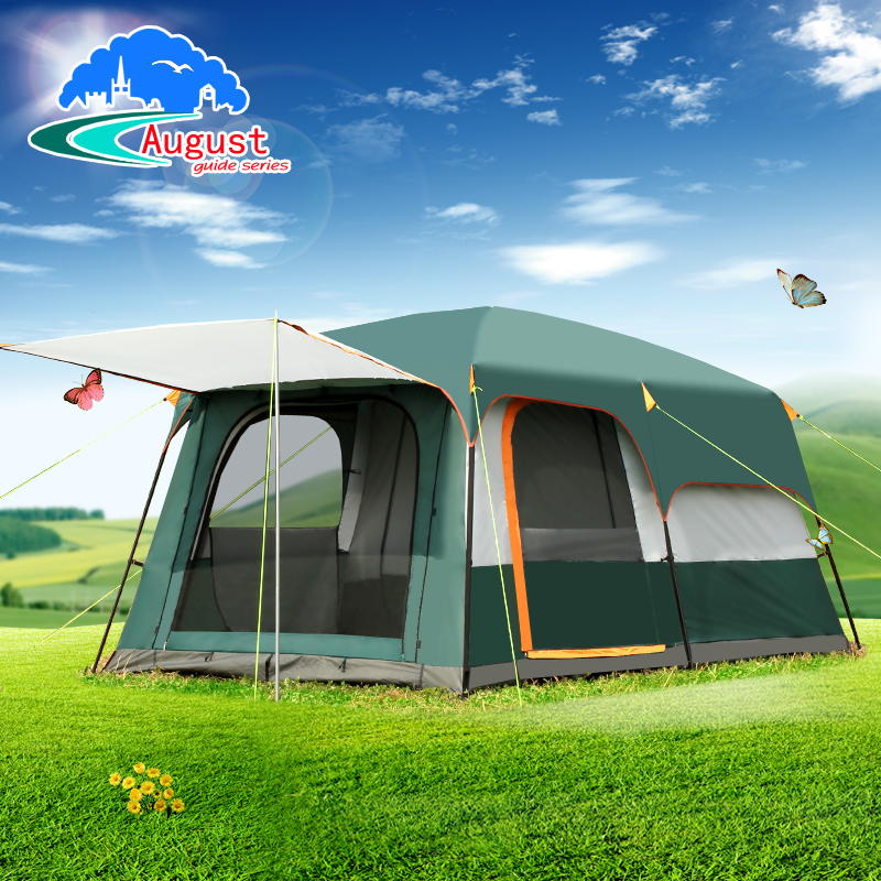 AUGUST 5-8persons double layer outdoor 2living rooms and 1hall family camping tent in top quality large space tent luxury large indian singler layer 10persons outdoor camping tent with waterproof and anti wind traveling tent in good quality