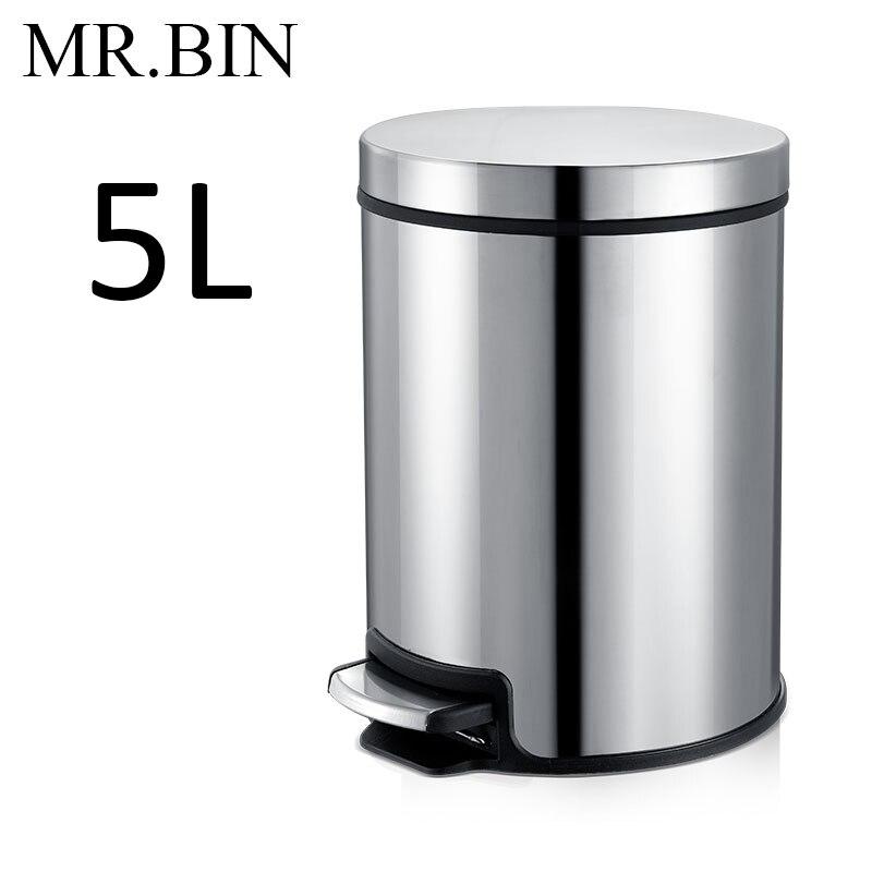 MR. BIN Макарон плюс мусорный бак с 5L/8L/12L ёмкость красочные педаль отходов Bin металлическая мусорная корзина для дома и кухня - Цвет: 5L Mirror Silver