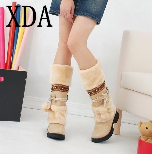 XDA 2018 NEW Winter Warm martin boots Thickened Fur High Heel Boots Women Shoes Fashion Sexy Long snow boots size 35-43