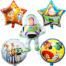 5pcs/lot lightyear party balloons mixed star round irregular style woody and helium for boy birthday