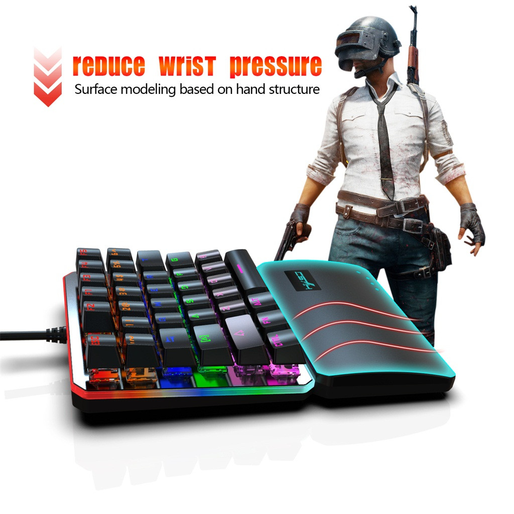 35 Keys Single One Hand Mechanical Gaming Keyboard USB Wired For PUBG/ LOL Gamer Gaming Keyboard Teclado Gamer Floating LED Back
