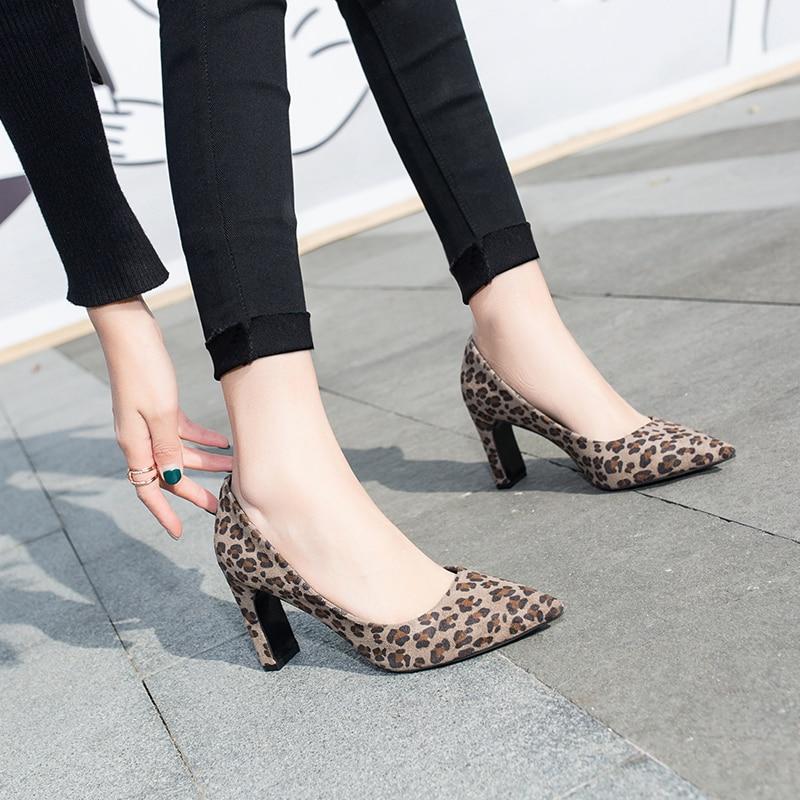 Zapato 43 35 2019 La Bombas Cómoda Tamaño Cm Señaló Rebaño 8 Amarillo Mujer De Superficial Alto Cabeza Leopardo caqui Tacón Mujeres Oficina Zapatos HHxnqwRrTF